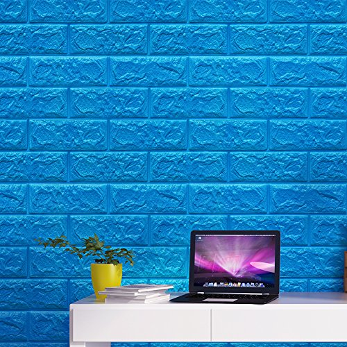 QIHANG Self Adhesive Waterproof Brick PE Wallpapers 3D Wall Sticker Living Room Wallpaper Mural Bedroom TV Background Decorative Stickers (Lake Blue)