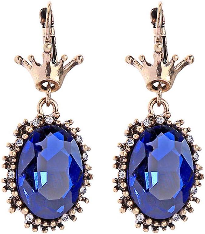 Z&HA Pendientes de Gota Retro de Las Mujeres-Irregular geométrica Azul Piedra Preciosa con Diamantes joyería Plata para Fiesta de Boda