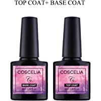Top Base Coat Semi Permanent - Saint-Acior UV/LED Vernis à Ongles Top Coat Vernis Gel et Base Coat Vernis Semi Permanent Soak Off Nail Polish 2 x 8ml
