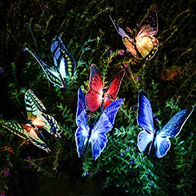 Solar Lights Outdoor - Neafan 3 Pack Garden Solar Stake Lights with Fiber Optic Butterfly, Multi-Color Changing LED Solar Butterfly Lights for Garden Decorations, Garden Gifts