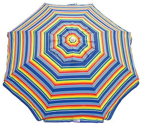 RIO Beach 6-foot UPF 50+ Beach Umbrella with Built-In Sand Anchor (Renewed)