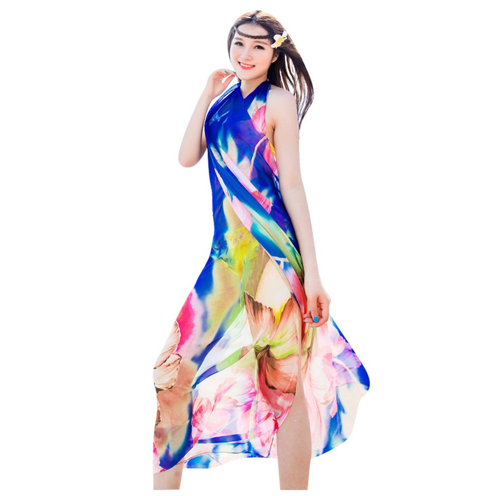 a5e8b1f9e44c6 GERINLY Chiffon Sarong Wrap  Fresh Zephyranthes Print Oversize Beach Cover  up (Blue) at Amazon Women s Clothing store