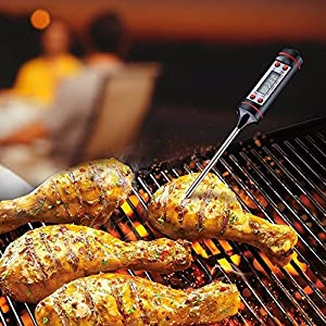 Lily.N,Instant Read Digital Cooking Thermometer For Food Meat Grill BBQ Stainless Steel Party BBQ Food