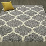 Sweet Home Stores Cozy Shag Collection White Grey