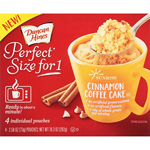 Price comparison product image Duncan Hines Perfect Size for 1 Breakfast Muffin and Cake Mix,  Cinnamon Coffee Cake,  4 individual pouches