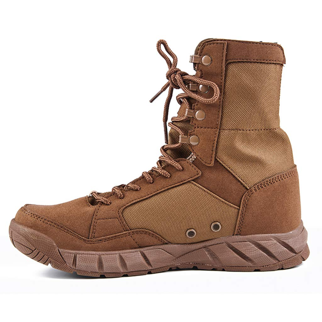 Brown Henxizucun Army Military Boots Military Combat Armed Desert Jungle Trekking shoes High Top Patrol Breathable Cadet Police Practical Footwear For Men