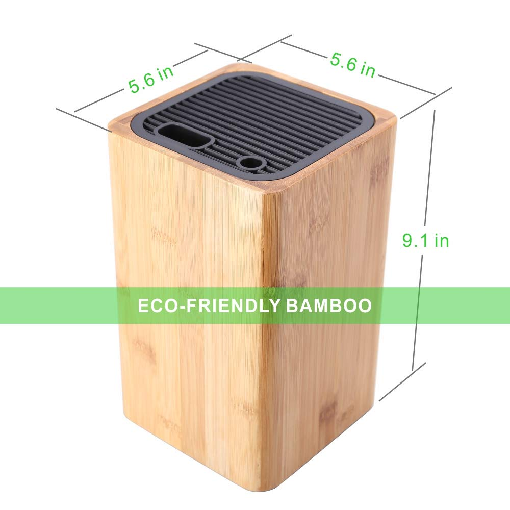 Deluxe Universal Knife Block with Slots for Scissors and Sharpening Rod - Eco-Friendly Bamboo Knife Holder For Safe, Space Saver Knives Storage - Unique Slot Design to Protect Blades - by KITCHENDAO by KITCHENDAO (Image #7)