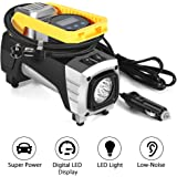 Portable Air Compressor, Ymiko Car Air Pump DC 12V 120W 150 PSI with High Brightness LED, Auto Stop Display Digital Tyre Inflator for Car, Bike, Truck, Sport Balls and other Inflatable