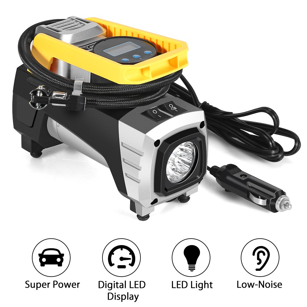Air Compressor Pump, Ymiko DC 12V 120W 150 PSI Car Air Pump with Auto Shut Off Gauge Digital Tire Inflator, Air Pump for Car Tire, Truck, Bicycle, RV and Other Inflatables