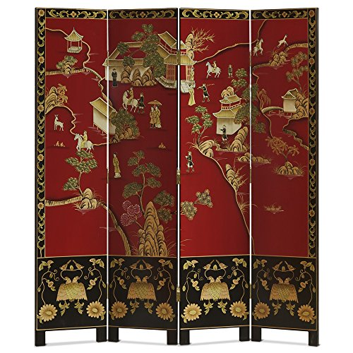 ChinaFurnitureOnline Chinoiserie Floor Screen, Hand Painted Chinese Courtly Landscape with Floral Motif in Red and ()