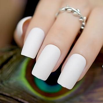 EchiQ Off - Puntas de uñas postizas de color blanco mate, con parte superior plana, aromatizadas, uñas artificiales de tamaño mediano y largo, para novia, ...