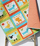Animal Baby Quilt, Patchwork, Baby Blanket Unisex Boy or Girl Quilt, Dachshund Dog Cat Panda Sheep Fox, Orange Yellow, Toddler Bed Blanket