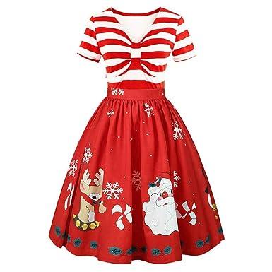 more photos f4bac 1078d Longra Weihnachtskleid Damen Vintage Cocktailkleid Abendkleid mit  V-Ausschnitt Streifen High Waist Rockabilly Kleid Weihnachtsmotiv Swing  Kleid ...