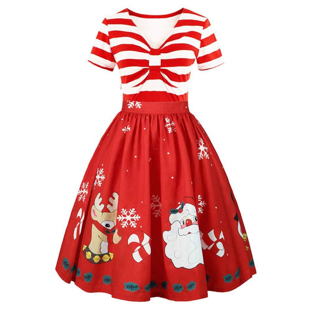 Womens Christmas Festival Prints A Midi Flared Short Sleeve Striped Swing Dress (US:2, red)