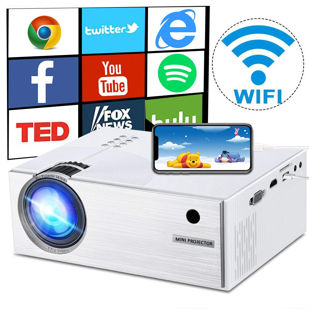 WiFi Projector 2600 Lumens, DIWUER Mini Portable Video Projectors, WiFi Directly Connect Smartphones for Home Outdoor Movie Theater, Support Full HD 1080P, HDMI, VGA, SD Card, AV, USB by DIWUER (Image #1)
