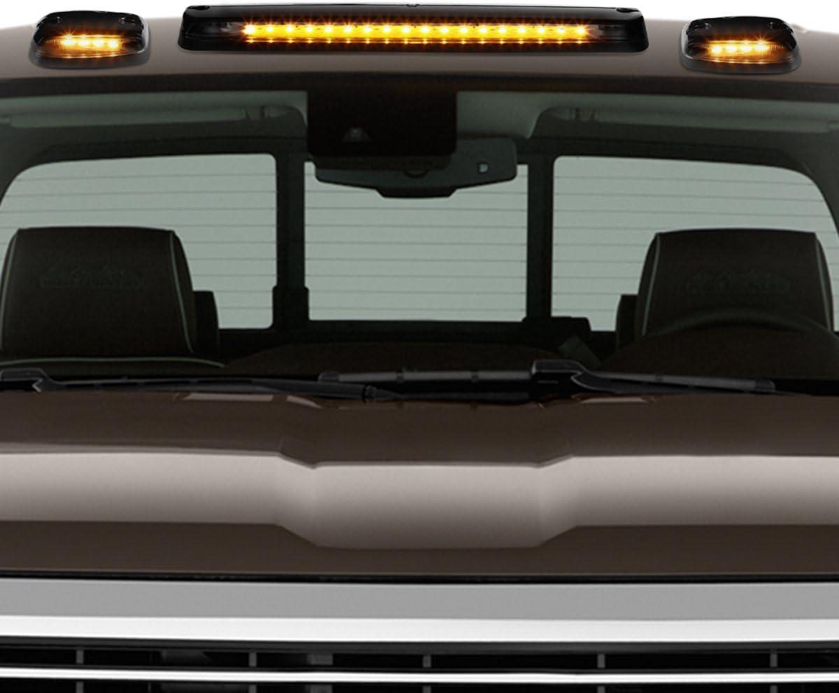 DNA Motoring CBL-CSIL07-BK-Y 3Pcs LED Cab Roof Running Light//Lamps For 07-13 Chevy Silverado//GMC Sierra
