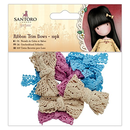 DOCrafts Santoro's Gorjuss Ribbon Trim Bows 12/Pkg-Blue, Pink, Cream
