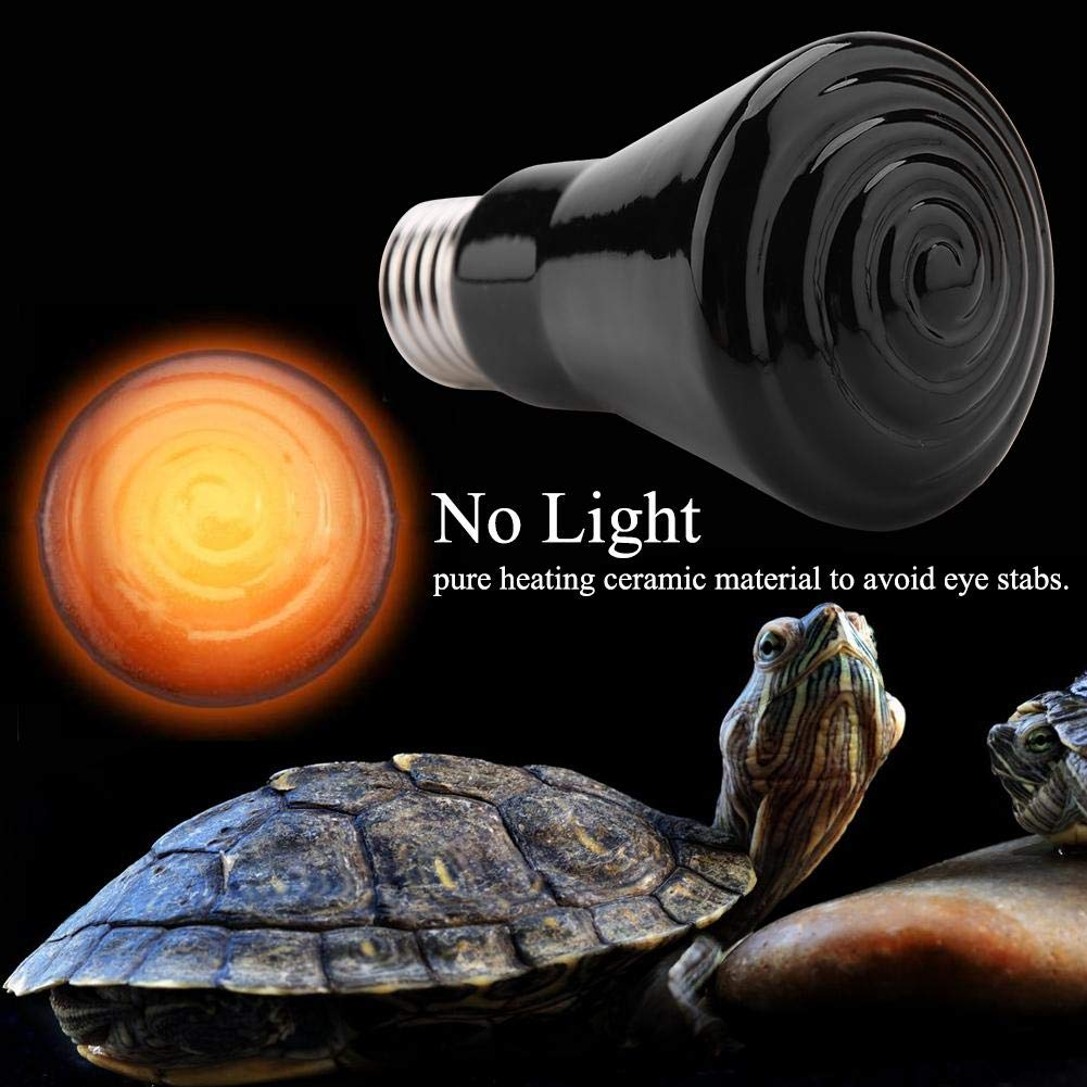 Black-50W Multifunctional Heating Lamp Solid Ceramics Infrared Heat Emitter Brooder Coop Lamps Bulb Heat Scattering Accessory Terrarium Heats Lamps for Reptiles Amphibians 220-230V