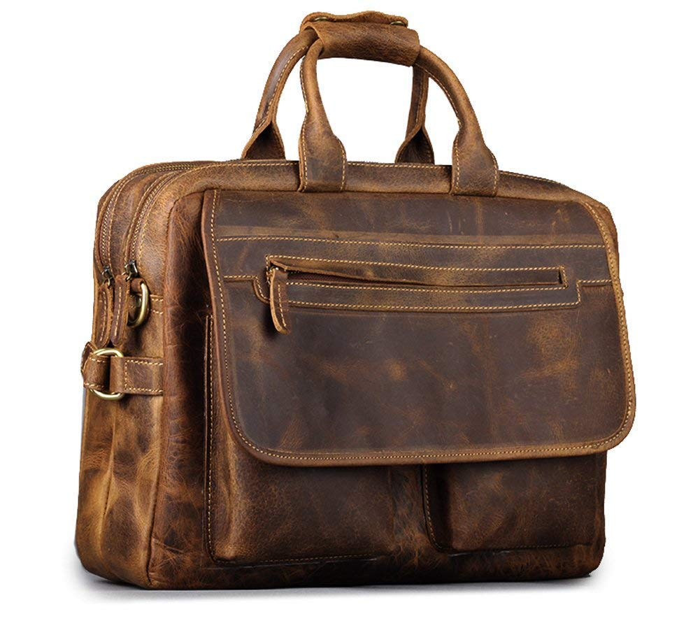 Raw Fashion Crazy Horse Leather Briefcase Messenger Laptop Shoulder Business Laptop Bags Tote Coffee