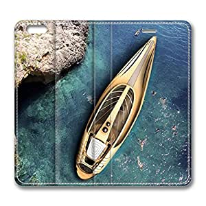 iPhone 6 Leather Case, Personalized Protective Flip Case Cover Sea Boat for New iPhone 6