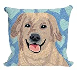 Liora Manne Whimsy Dog Love Indoor/Outdoor Pillow, Blue