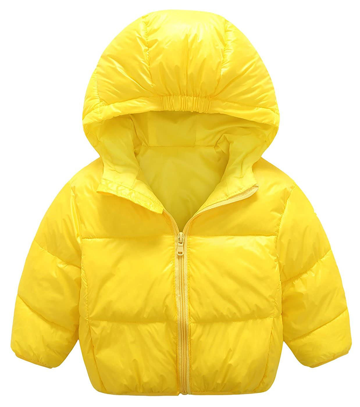 Mengxiaoya Baby Boys Girls Hoodie Down Jacket Lightweight Puffer Coat Windproof Cotton Yellow 12-24Months