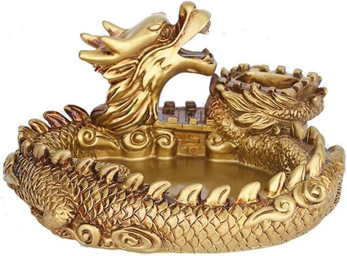sknonr Cenicero Creativo Gran Personalidad Tendencia Doméstica Estilo Europeo Salón Regalo A Prueba de Viento Retro Dragon Code Cenicero 9X18X18cm (Color : Gold)