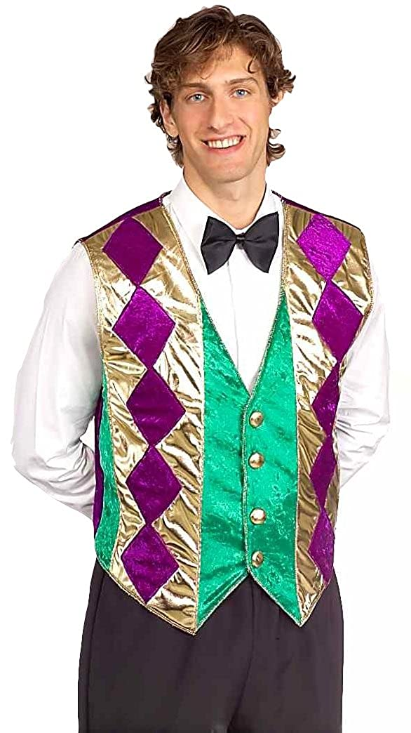 Forum Mardi Gras Vest Green/Gold/Purple Adult Forum Novelties Costumes 57942