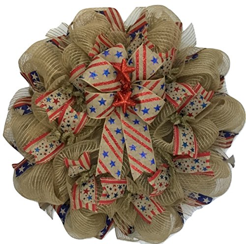 Americana Patriotic Burlap Wreath Handmade Deco Mesh from What A Mesh by Diana