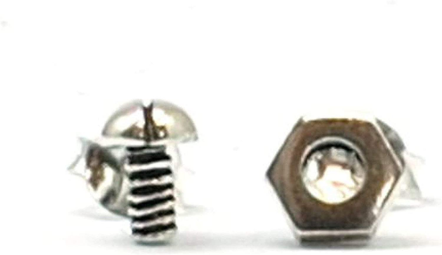 The Olivia Collection Sterling Silver Nut and Bolt Stud Earrings