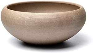 COOLSKY Round Ceramic Bonsai Pot Classical Rough Pottery Succulent Planter Flower Pot Plants Display Bowl Home Decor,Brown 8 Inch with Garden Tool Set