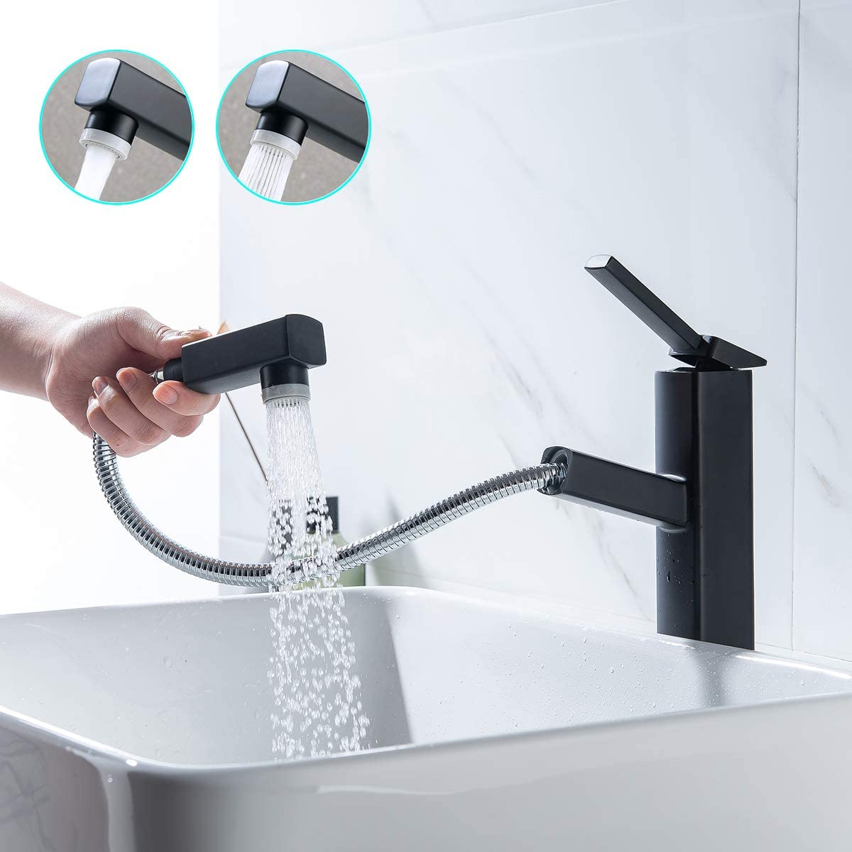 Kaiying Pull Down Bathroom Sink Faucet Modern Lavatory Vessel