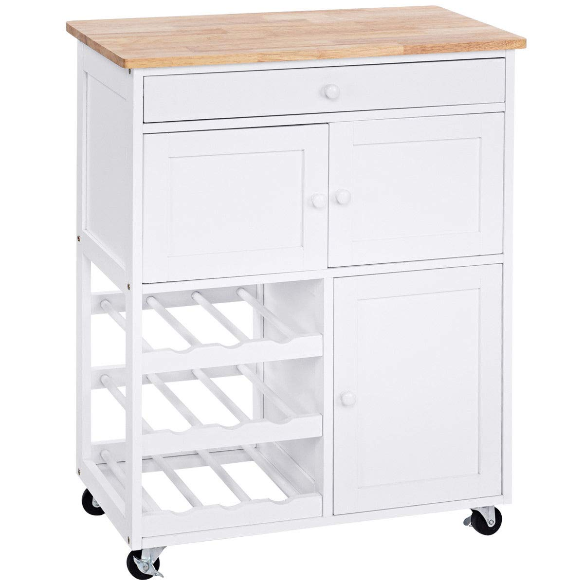 "NanaPluz 26.4"" Rolling Kitchen Cart Storage Cabinet Island Trolley Mobility Shelf Table Serving w/Wine Rack & Drawer with Ebook"