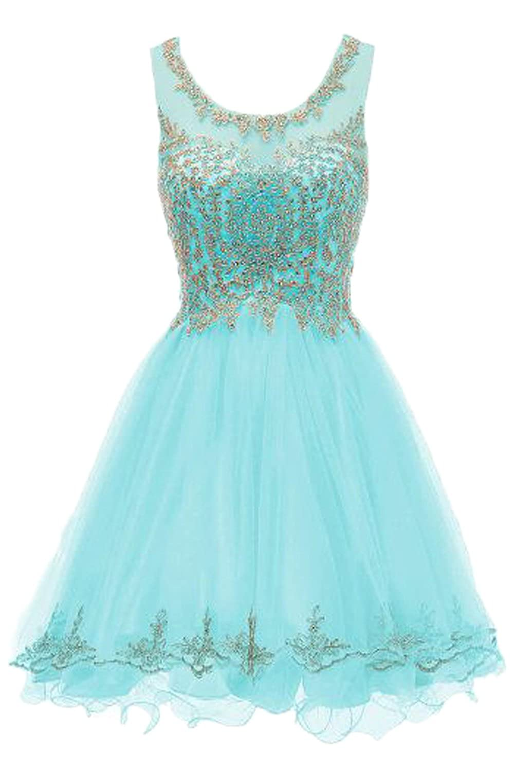 Turquoise Huifany Short gold Lace Prom Homecoming Dresses Appliques Beads Prom Party Gowns