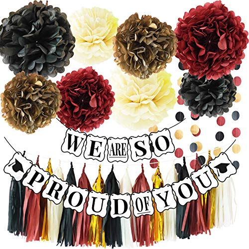 Graduation Party Supplies 2019 Graduation Party Decrations We are So Proud of You Banner Black Gold Burgundy Decorations Classy and Luxurious Graduation Banner for 2019 Graduation -