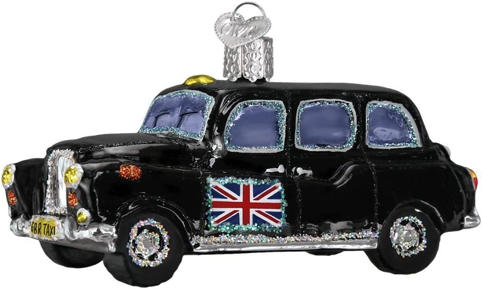Old World Christmas Planes, Trains, Helicopters, Boats and Trucks Glass Blown Ornaments for Christmas Tree British Taxi