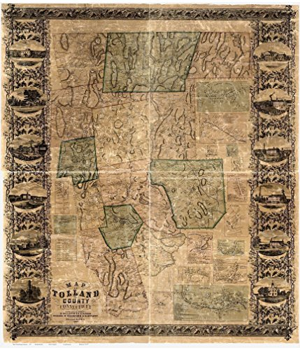 Tolland County Connecticut 1857- Wall Map with Homeowner Names Old Map Reprint - Tolland County Map