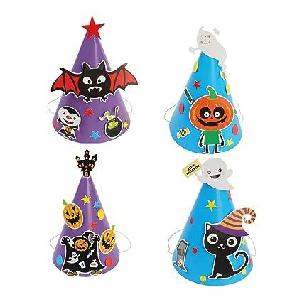 Halloween Party Hats Cartoon Paper Cap Ornament Hat for Children Kids Halloween Hats Craft Kits DIY Cone Hat