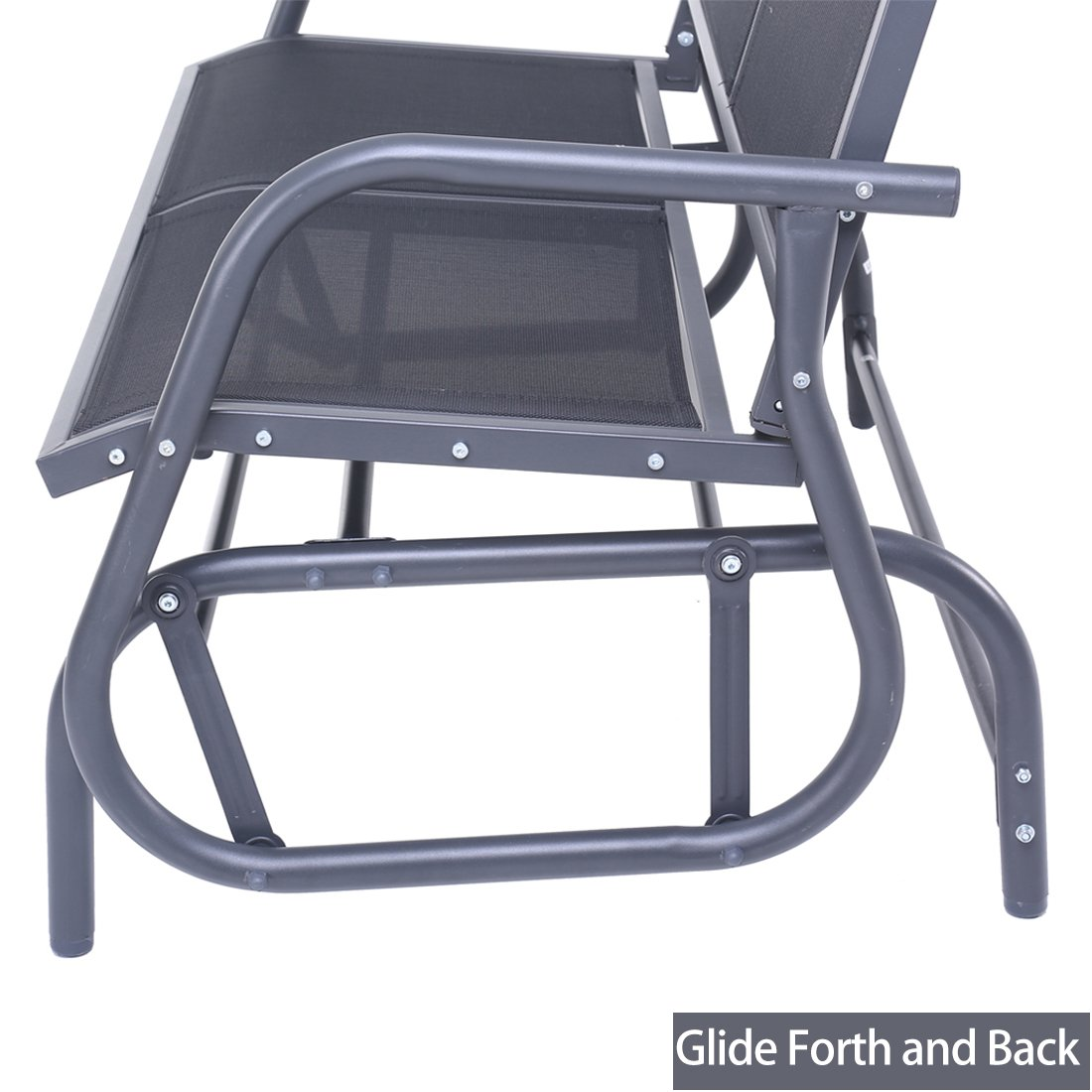 SUPERJARE Outdoor Swing Glider Chair, Patio Bench 2 Person, Garden Rocking Seating - Gray by SUPERJARE (Image #5)