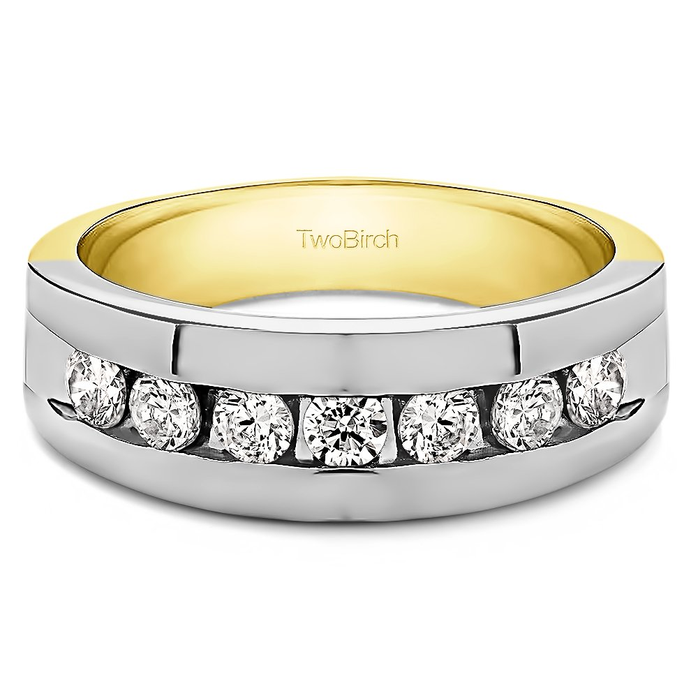 Size 3 to 15 in 1//4 Size Intervals Yellow Silver Unique Mens Ring Charles Colvard Moissanite 0.42Ct