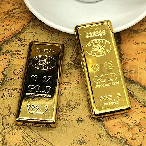 - New 1pcs Novel Gold Plate 999 Brick Bar Butane Gas Lighter Metal Lighter Gifts