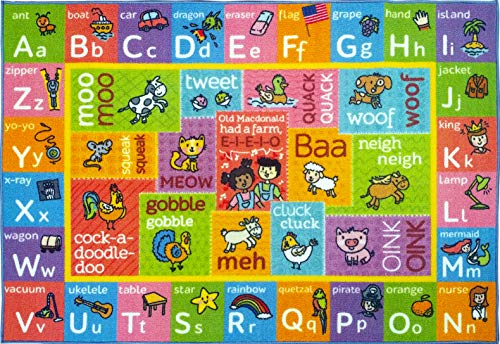 KC CUBS Playtime Collection ABC Alphabet with Old McDonald's Animals Educational Learning Area Rug Carpet for Kids and Children Bedrooms and Playroom - 5' 0