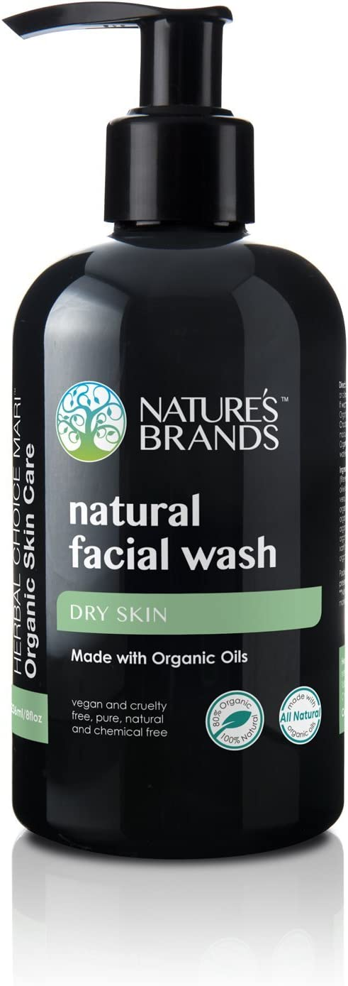 Natural Facial Wash by Herbal Choice Mari (Dry Skin, 8 Fl Oz Bottle) - Made with Organic Ingredients