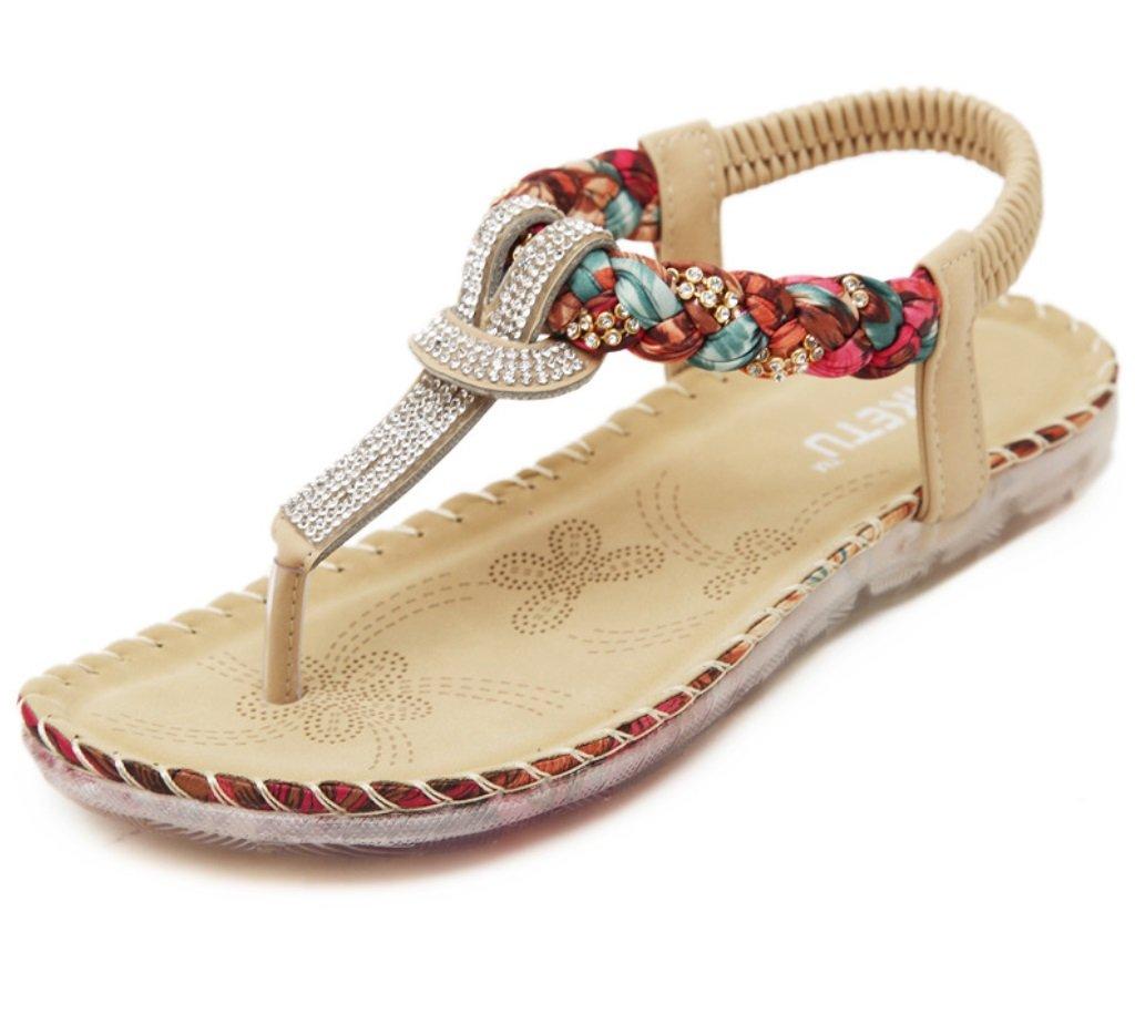 Apricot 41 Ms. New Summer Clip Toe Sandal Pure color color Elastic Flat shoes Sandals ZHHZZ