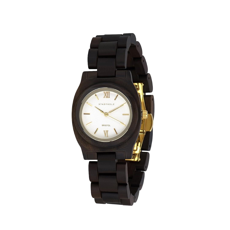 STADTHOLZ Armbanduhr Holzuhr Bristol Safirglas aus Sandelholz Damenuhr Geschenk