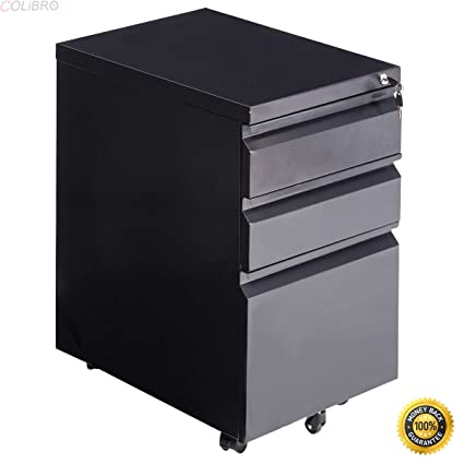 COLIBROX  File Cabinet Rolling Mobile A4 Drawers Pedestal Storage Steel  Home Office Black,