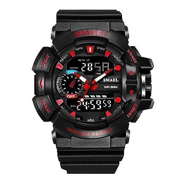 30M Impermeable Reloj Deportivo para Hombre S-Shock Military Relojes LED Quartz Doble Display Exterior Reloj para Hombre (Black+Red): Amazon.es: Electrónica