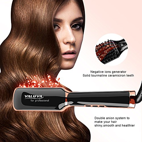 Hair Straightening Brush YALUYA Hair Straightener Brush Ceramic Portable Electric Heat Brush Straightening Irons Hair Care Brush Anti Scald Ionic Teeth Comb for Travel Women's Day Gift (Black) by YALUYA (Image #7)
