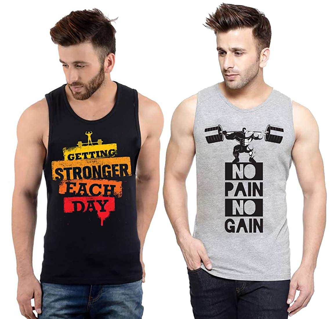 Hotfits Men's Multi-Coloured Gym Sleeveless Tshirt -Pack of 2