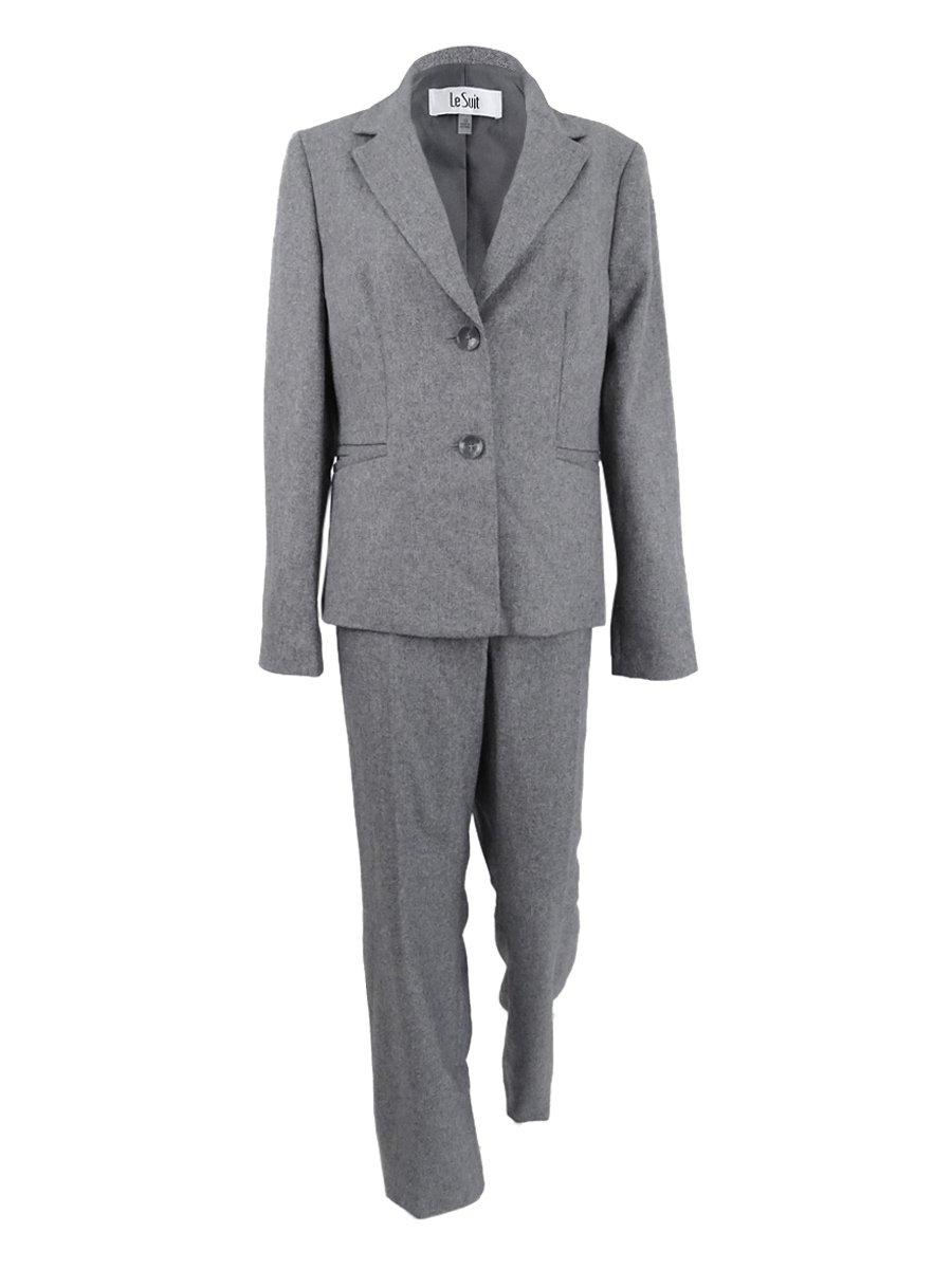 Le Suit Women's Plus Size Two-Button Pantsuit (20W, Grey)